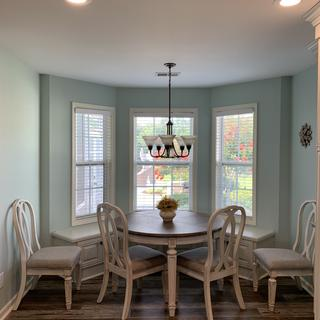 Looks beautiful in our breakfast nook with banquet seating