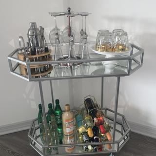 This bar cart is amazing and fits everything so perfectly