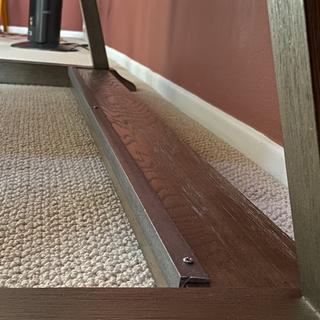 """I added a 3/4"""" x 3/4"""" angle iron from Home Depot (around $20) to protect the finish from feet."""