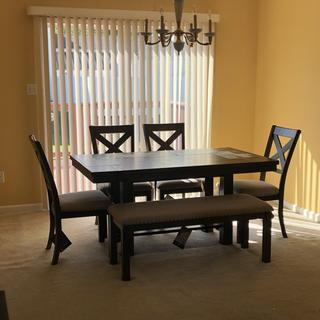 Perfect Quality Dining Set.  My son assembled the dining table and I assembled the chairs and bench.