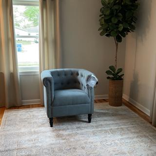 Love this chair. I will say the color in person is more blue then the pictures shown online.