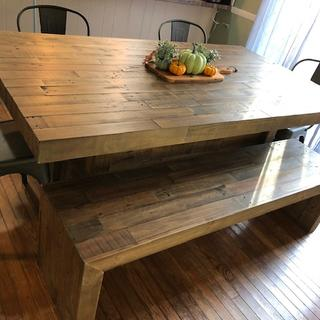 Sturdy, well built table and bench. Looking for that farmhouse feel...this is the table to buy.