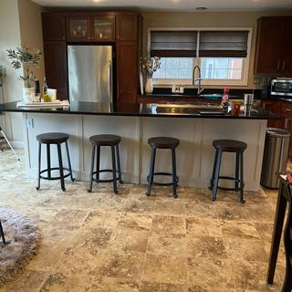 Matching stools at our kitchen counter complete the look.
