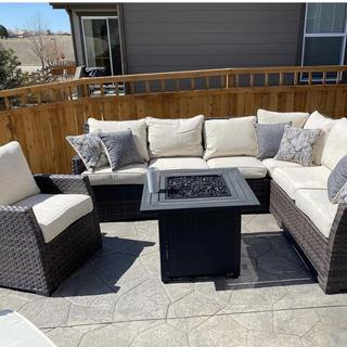 We LOVE our new sectional! We finally sit out here on our patio all the time. Best purchase ever!