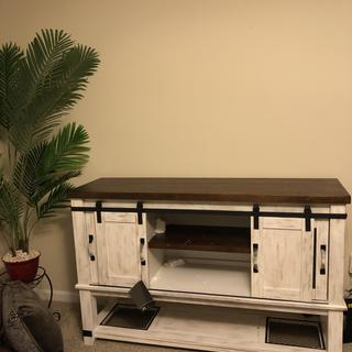Lots of extra storage space rustic wood look blends well with home decor