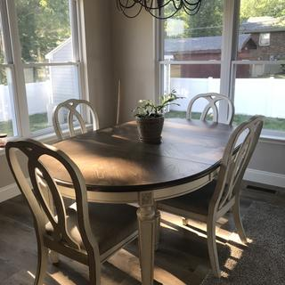 I love my new dinning room set. It is perfect with my country kitchen.