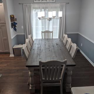 This table is absolutely beautiful. Did not take too long to put together. Love the chunky legs!