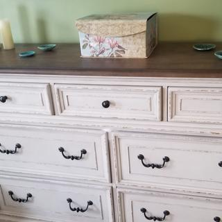 Very tall dresser. So well made and substantial.