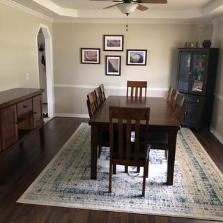 This rug was the perfect light pop to my otherwise dark dining room.