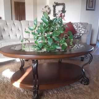 This well-made table works great in our living room.  We like the size and shape.