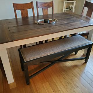 Bench with farm table