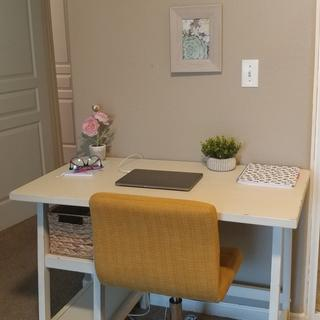 This desk is more beautiful in person! It was exactly what I was looking for. It fit perfectly!