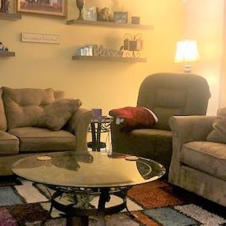 Slight contrast in color matches perfectly with our existing living room furniture and accent wall.