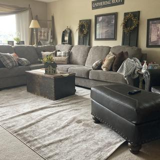 """Goes well with the brown """"leather"""" chair/ottoman we purchased from Ashley as well."""