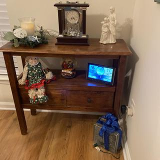 We love it. Very sturdy and beautifully finished. Great accent table for our dinning room.