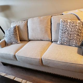 Love this sofa. Comfortable and clean lines.