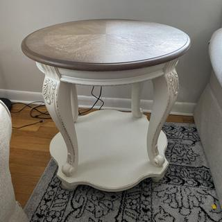Great little end table . Easy to put together and sturdy. They exceeded my expectations .