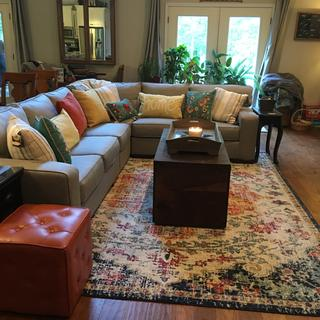 We LOVE our new sectional and beautiful Harput Rug!