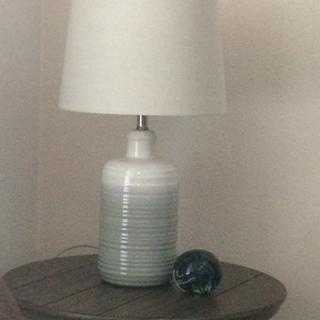 This lamp looks great in the room! A little tan and blue complement the coloring