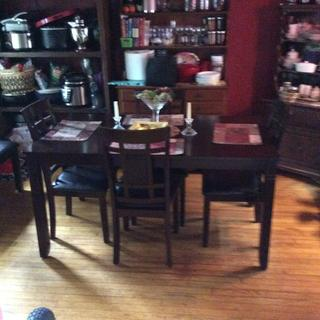 I love the new dining set, it fits perfect in the small room we have and the price was great.