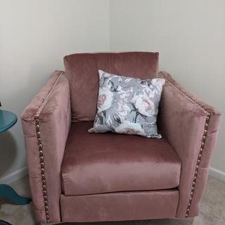 Pink Lizmont Accent Chair - pillow added by me