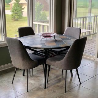 Bought the chairs to go with the table that I already had. These chairs were the perfect match.