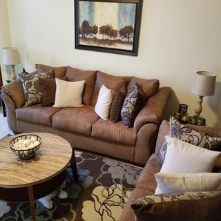 Darcy sofa and loveseat in Mocha