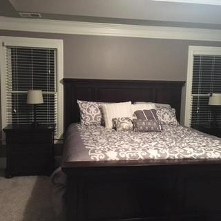 Bed & Nightstands, color is darker than it is in person