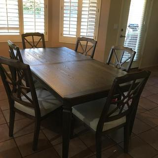 Dining room set without the leaf. Very sturdy and goes great in our kitchenette.
