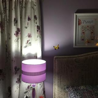 Lavender Bedroom with glitzy lamp! Great for adult or teen room! I love it!