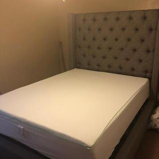 Setting my bed up with the Lucid 10 inch gel/memory foam mattress.