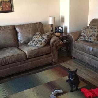 Larkinhurst sofa and loveseat set