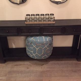 New pouf and new Gavelston table from Ashley