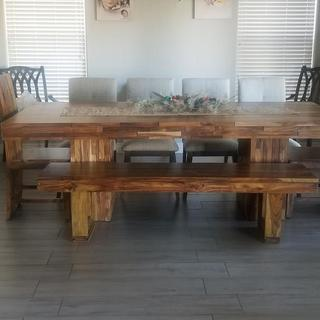 Custome handmade table with Ashley's Chairs