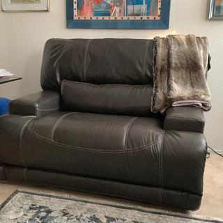 Our new recliner in my office. Now I just need to assemble the new filing cabinet that will sit next to it.