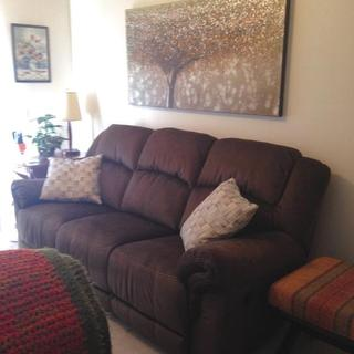 New chocolate brown dual recliner sofa