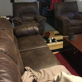 Bladen Couch and 2 matching recliners, with our Lhasa Apso taking a nap in front of Lynns recliner waiting for her to come home.