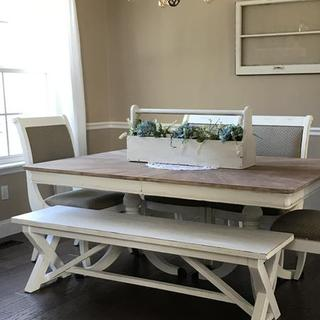 My new farmhouse table with bench