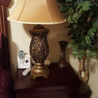 Matching lamp with candle holder