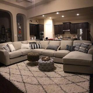Huge sectional !!! Added our own pillows to create a modern feel.