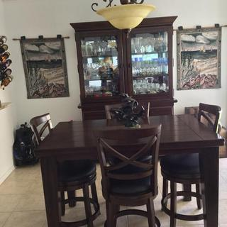 New China cabinet with tables and stools