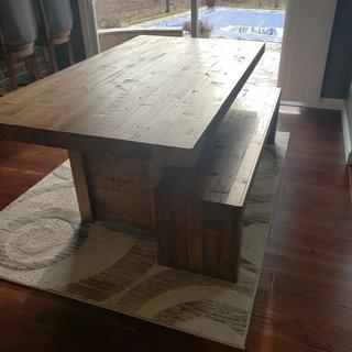 Rustic  wood 6 ft table with bench.