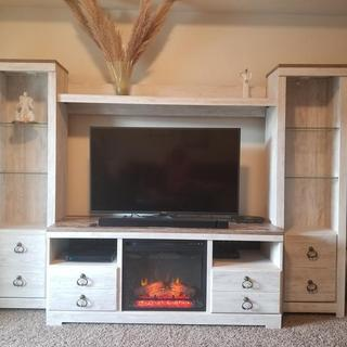 New fire place insert and entertainment center