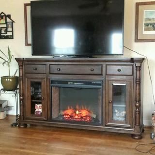 My new entertainment center with fireplace insert!