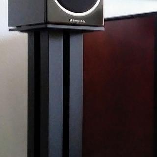 24-inch Monolith Speaker Stand supporting Wharfedale Diamond 225 Bookshelf Speakers.