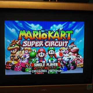 Mista FPGA GBA core running Mario Kart:SC. Using a vga to component cable in this image.