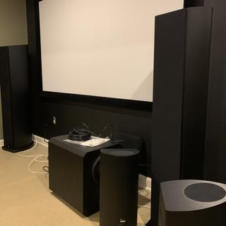 Both speakers with grills on. Next to the smaller THX-365T