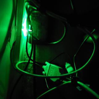 Green led in dark room