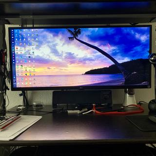 """34"""" LG widescreen monitor supported by the Monoprice Essential Single Monitor Desk Mount."""