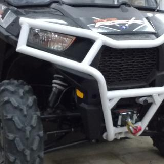 Polaris Deluxe Front Bumper - White - on a Polaris RZR 900 TRAIL with WARN Vantage 3000 Winch